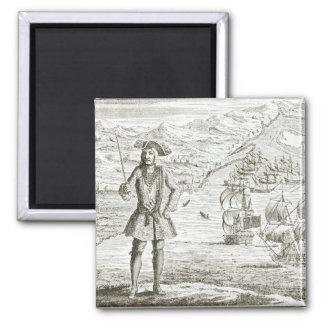 Captain Bartholomew Roberts (1682-1722) with two s Fridge Magnet