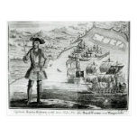 Captain Bartholomew Roberts  with two ships Postcard