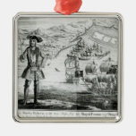 Captain Bartholomew Roberts  with two ships Silver-Colored Square Decoration