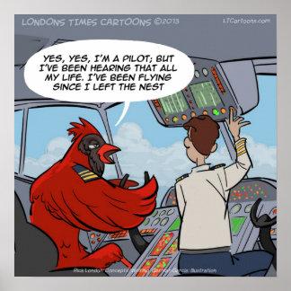 Captain Byrd Cardinal Pilot Flies Jet Funny Poster