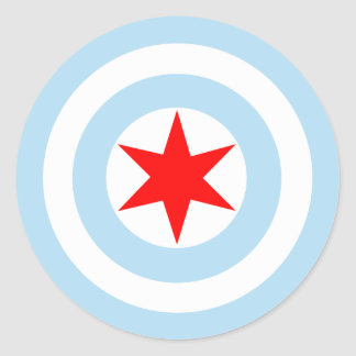 Captain Chicago Flag Shield Round Stickers