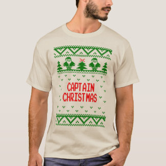 Captain Christmas Holiday Ugly Sweater T Shirt