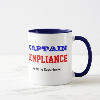 Captain Compliance Male Auditor Superhero Mug