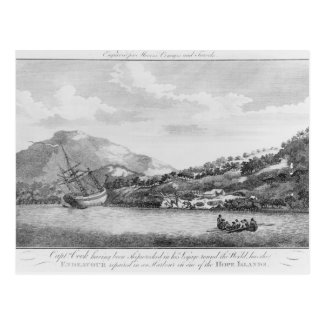 Captain Cook having been shipwrecked Postcard