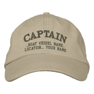 CAPTAIN customizable Your Boat Your Name Embroidered Cap