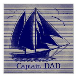 Captain DAD nautical Poster