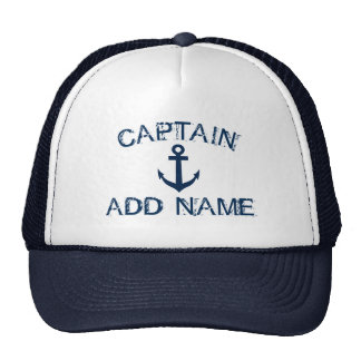 Captain hat with nautical anchor and custom name