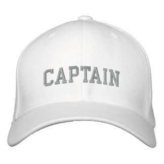 Captain in grey on white sport embroidered cap|hat baseball cap