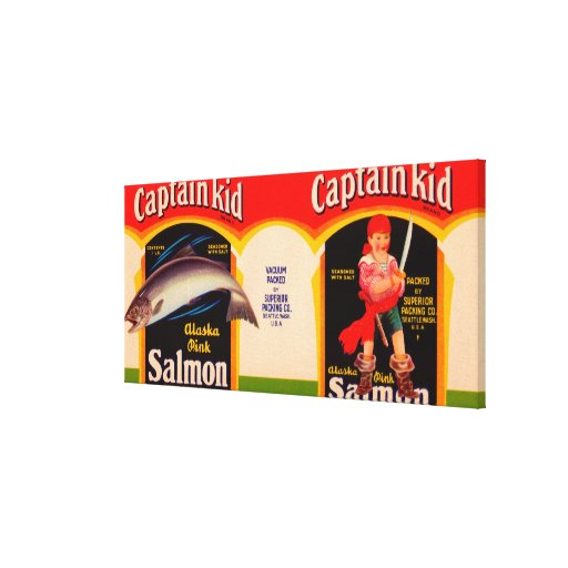 Captain Kid Brand Salmon Label- Seattle, WA Stretched Canvas Print