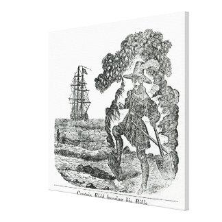 Captain Kidd Burying His Bible, illustration Canvas Print