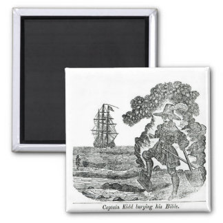 Captain Kidd Burying His Bible, illustration Square Magnet