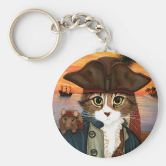 Captain Leo, Pirate Cat & Rat Fantasy Art Keychain