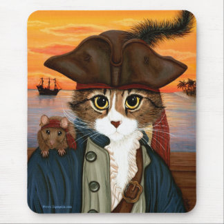 Captain Leo, Pirate Cat & Rat Fantasy Art Mousepad