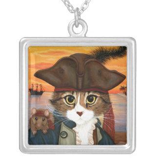 Captain Leo, Pirate Cat & Rat Fantasy Art Necklace