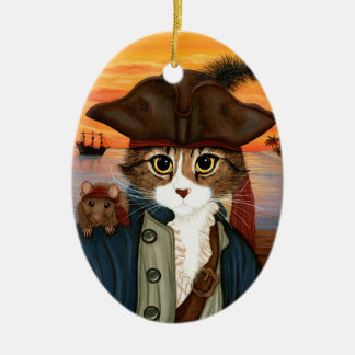 Captain Leo, Pirate Cat & Rat Fantasy Art Ornament