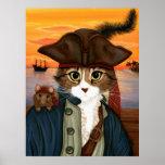 Captain Leo, Pirate Cat & Rat Fantasy Art Poster