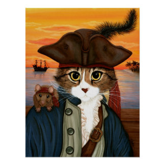 Captain Leo, Pirate Cat & Rat Fantasy Art Poster