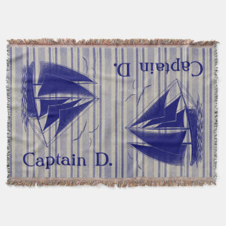 Captain monogram boy's room nautical throw blanket