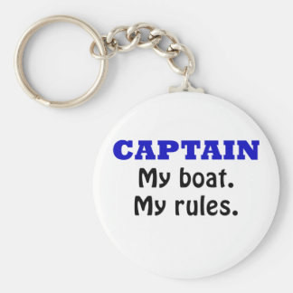 Captain My Boat My Rules Basic Round Button Key Ring