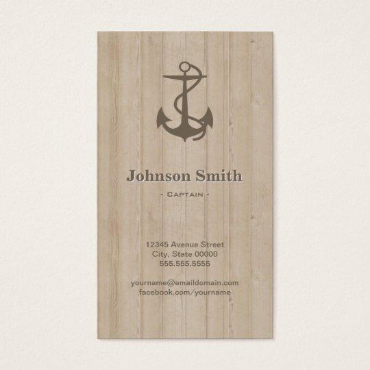 Captain - Nautical Anchor Wood Business Card