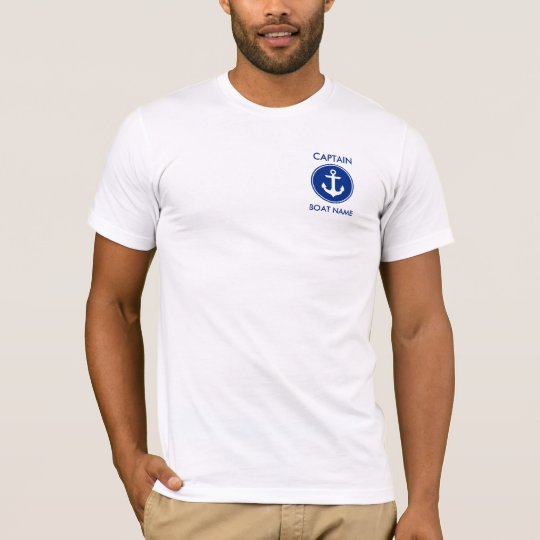 Captain Nautical Blue Anchor Personalised T-Shirt