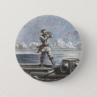 Captain Nemo Verne 20,000 Leagues Illustration 6 Cm Round Badge
