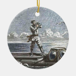 Captain Nemo Verne 20,000 Leagues Illustration Christmas Ornament