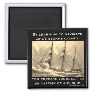 Captain of Any Ship Square Magnet