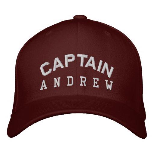 CAPTAIN Personalised Custom Name MAROON WHITE Baseball Cap