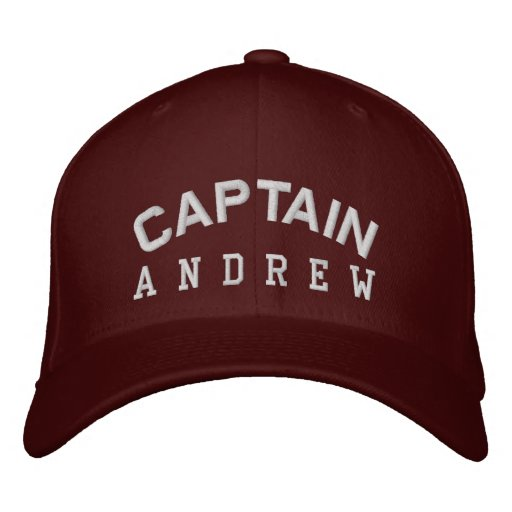 CAPTAIN Personalised Custom Name MAROON WHITE Embroidered Hat