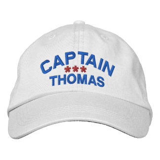 CAPTAIN Personalized Custom Name WHITE RED BLUE Embroidered Baseball Cap