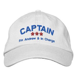 CAPTAIN Personalized Name Custom WHITE RED BLUE Baseball Cap