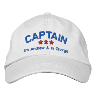 CAPTAIN Personalized Name Custom WHITE RED BLUE Embroidered Baseball Caps