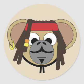 Captain Pirate Monkey Jack Jungle Cartoon Animal Classic Round Sticker