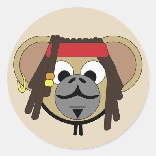 Captain Pirate Monkey Jack Jungle Cartoon Animal Classic Round Sticker