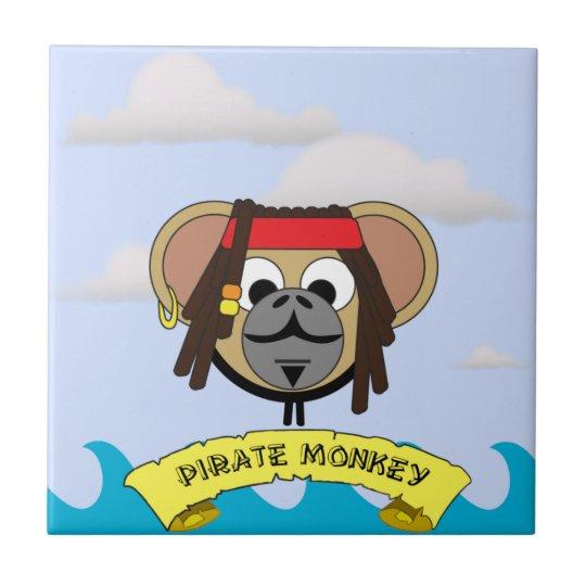 Captain Pirate Monkey Jack Jungle Cartoon Animal Small Square Tile