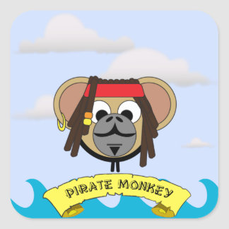 Captain Pirate Monkey Jack Jungle Cartoon Animal Square Sticker