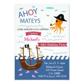 Captain Pirate Octopus Birthday Party Invitation