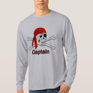Captain Pirate Skull and Crossbones Mens LS T 3 T-Shirt