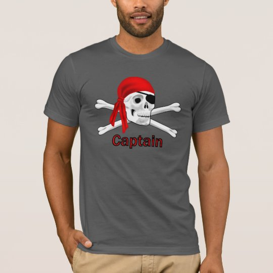 Captain Pirate Skull & Bones Mens Black T-shirt