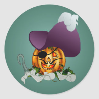 CAPTAIN PUMPKIN HOOK by SHARON SHARPE Classic Round Sticker