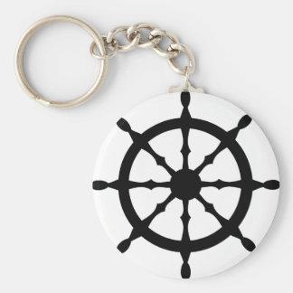 captain ship steering wheel basic round button key ring