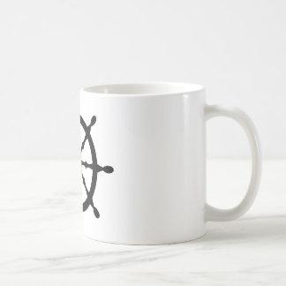 captain ship steering wheel basic white mug