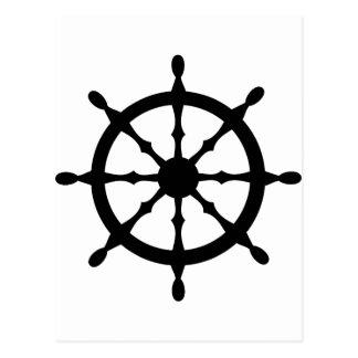 captain ship steering wheel postcard