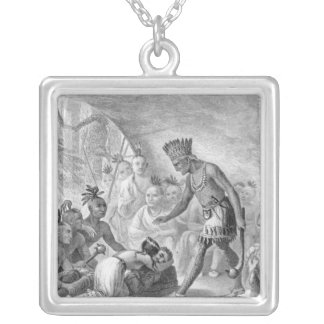 Captain Smith rescued by Pocahontas Personalized Necklace