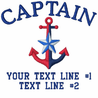 Captain Star Your Boat Name Your Name or Both Embroidered Shirts