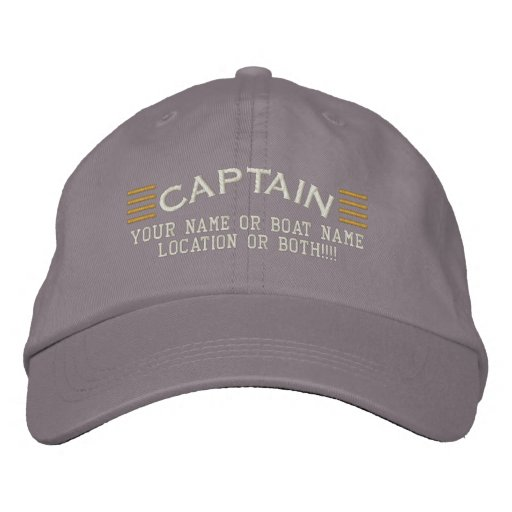 CAPTAIN Stripes Customisable Your Name Boat Local Embroidered