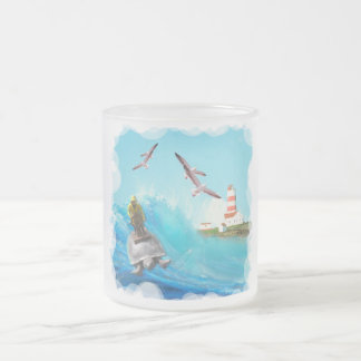Captain Turtle Frosted Glass Mug