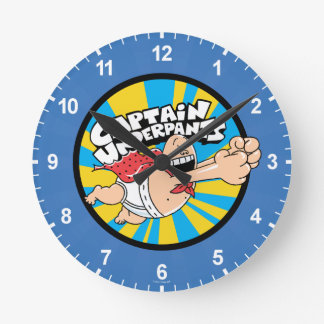 Captain Underpants | Flying Hero Badge Round Clock