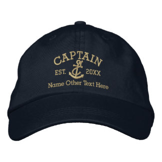 Captain With Anchor Personalised Embroidered Hat